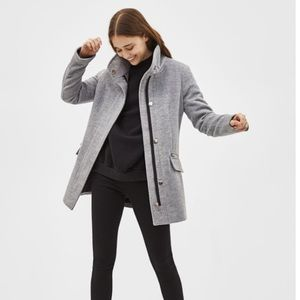Bershka Wooly Coat with silver zippers grey L